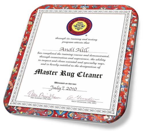 Plymouth Rug Cleaning Certificate